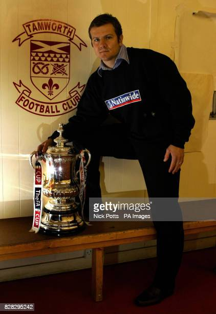 Tamworth manager Mark Cooper with the FA Cup in the dressing room following press conference at the Lamb Ground Tamworth Monday January 16 2006...