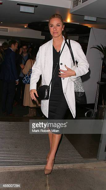 Tamzin Outhwaite leaving a performance of Breeders at the Palace theatre on September 8 2014 in London England