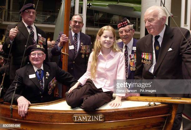 Tamzine Neale sits aboard the Tamzine a rowing dingy which was used to rescue troops from the beaches of Dunkirk France in 1940 during World War two...