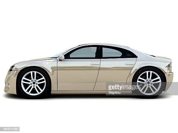 A tan luxury, family car isolated on white