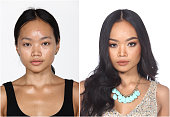 Tan Skin Asian Woman before and after make up and hair do style dresser. no retouch, fresh face with acne, skin moles, wart then good base foundation cosmetic, studio lighting white background