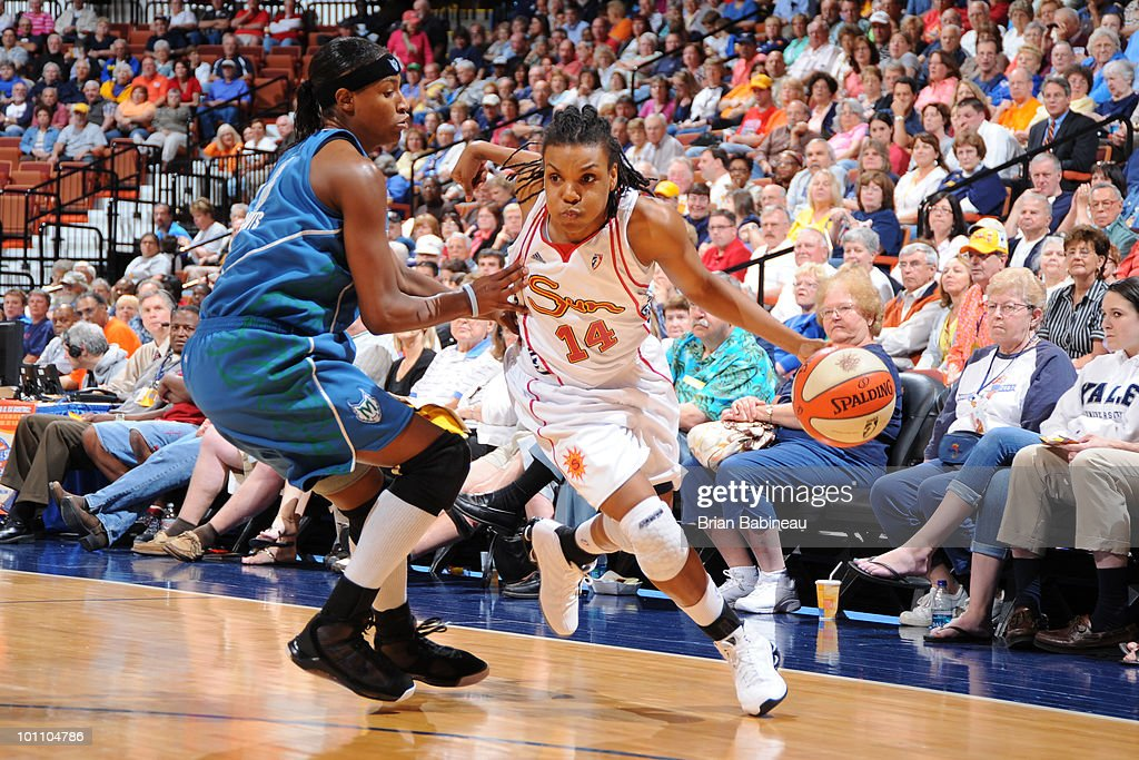 Tan White of the Connecticut Sun drives to the basket against the Minnesota Lynx on May 27 2010 at the Mohegan Sun Arena in Uncasville Connecticut...
