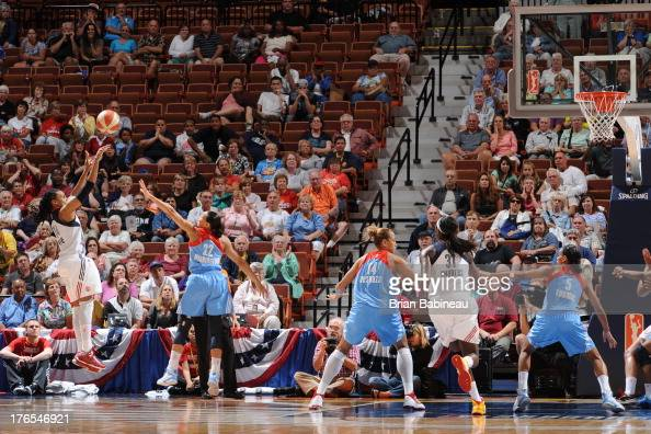Tan White of the Connecticut Sun hits the game winning shot against the Atlanta Dream on August 14 2013 at the Mohegan Sun in Uncasville Connecticut...