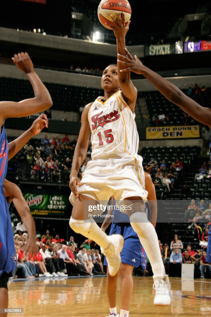 Tan White of the Indiana Fever lays the ball up on the Detroit Shock in Game One of the Eastern Conference Semifinals during the 2008 WNBA Playoffs...