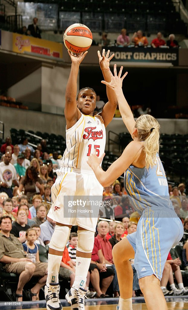 Tan White of the Indiana Fever shoots over Brooke Wyckoff of the Chicago Sky at Conseco Fieldhouse on July 12 2008 in Indianapolis Indiana NOTE TO...