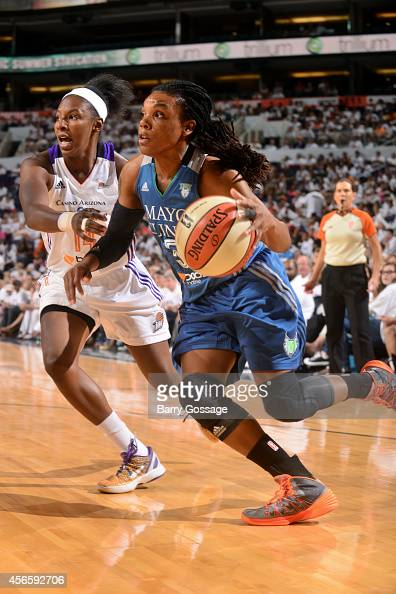 Tan White of the Minnesota Lynx drives against the Phoenix Mercury in Game 1 of the 2014 WNBA Western Conference Finals on August 29 2014 at US...