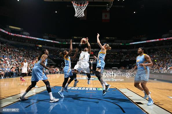 Tan White of the Minnesota Lynx goes for the shot against the Chicago Sky during the WNBA game on August 7 2014 at Target Center in Minneapolis...