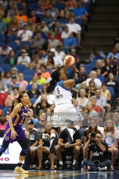 Tan White of the Minnesota Lynx goes for the shot against the Los Angeles Sparks during the WNBA game on August 12 2014 at Target Center in...