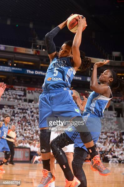 Tan White of the Minnesota Lynx grabs a rebound against the Phoenix Mercury in Game 1 of the 2014 WNBA Western Conference Finals on August 29 2014 at...