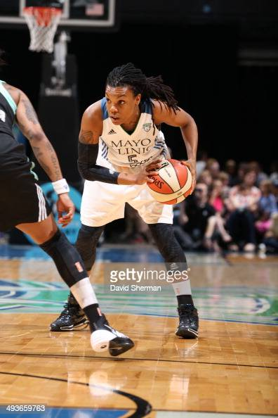 Tan White of the Minnesota Lynx looks to move the ball against the New York Liberty during the WNBA game on May 24 2014 at Target Center in...