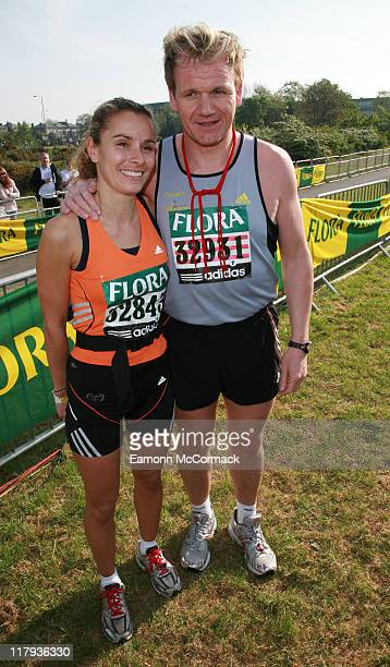 Tana Ramsay and Gordon Ramsay during the Flora London Marathon 2007 in London England on April 22 2007