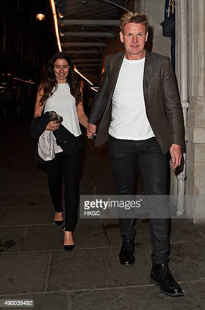 Tana Ramsay and Gordon Ramsay leaves J Sheekey restaurant in Covent Garden on September 25 2015 in London England