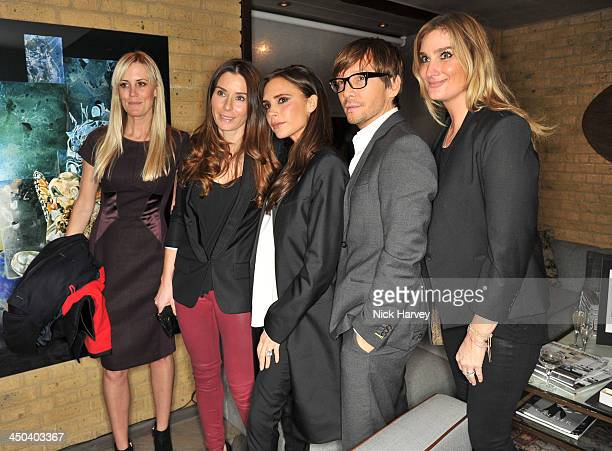 Tana Ramsay Victoria Beckham and Ken Paves attend the launch of Kelly Hoppen's new book 'Design Masterclass' at Belgraves Hotel on November 18 2013...