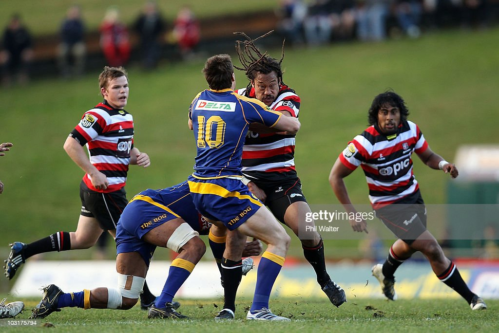 <a gi-track='captionPersonalityLinkClicked' href=/galleries/search?phrase=Tana+Umaga&family=editorial&specificpeople=203218 ng-click='$event.stopPropagation()'>Tana Umaga</a> of Counties Manukau is tackled by Glenn Dickson of Otago during the round one ITM Cup match between Counties Manukau and Otago at Bayer Growers Stadium on July 31, 2010 in Auckland, New Zealand.