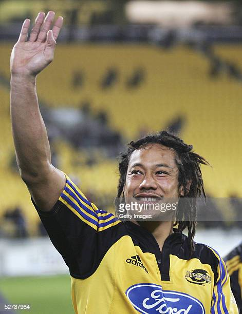 Tana Umaga of the Hurricanes waves to the crowd after playing in his 99th Super 12 match the Super 12 match between the Hurricanes and the ACT...