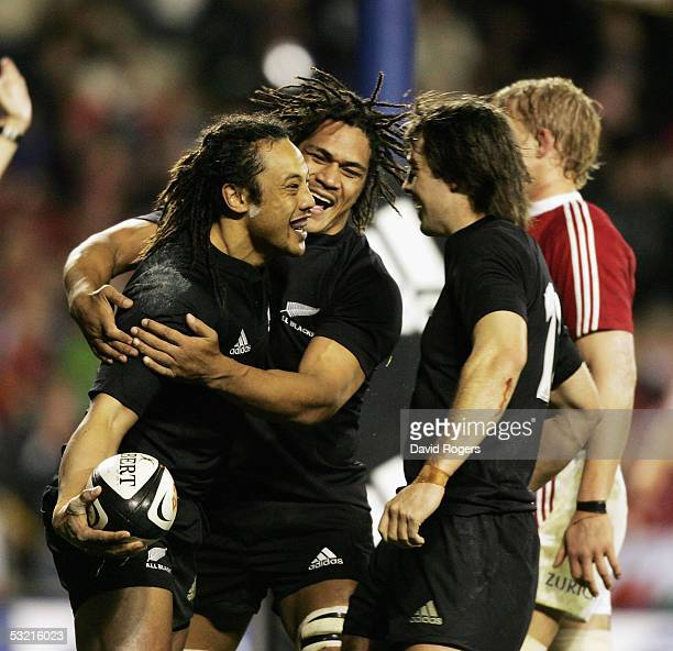 Tana Umaga the All Black captain celebrates after scoring a try during the third test match between The New Zealand All Blacks and the British and...