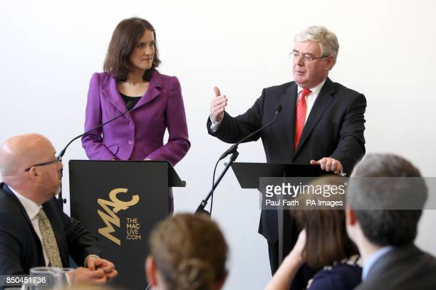 Tanaiste Eamon Gilmore speaking at the MAC in Belfast where he was joined by the Northern Ireland Secretary Theresa Villiers to host a breakfast...