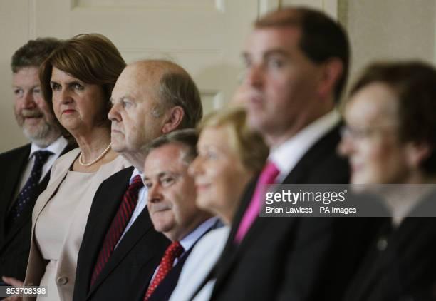 Tanaiste Joan Burton at Aras an Uachtarain Dublin following today's cabinet reshuffle as the Fine GaelLabour coalition Government has vowed to make...