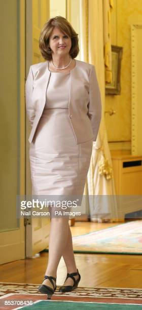 Tanaiste Joan Burton prior to receiving her Ministerial Seal of Office at Aras an Uachtarain Dublin after today's cabinet reshuffle as the Fine...