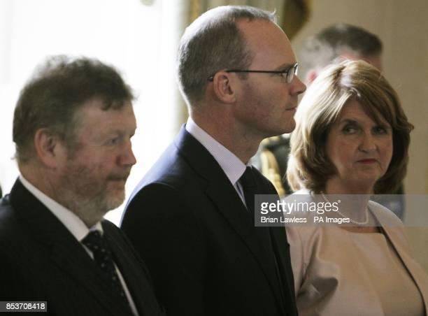 Tanaiste Joan Burton with new Minister for Health Leo Varadkar and new Minister for Children and Youth Affairs James Reilly prior to receiving their...