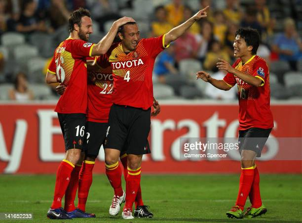 Tanaka Markus Tulio of Grampus celebrates kicking a goal during the AFC Asian Champions League match between the Central Coast Mariners and Nagoya...