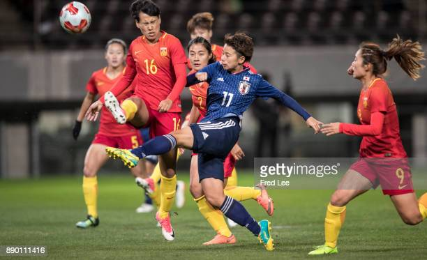 Tanaka Mina of Japan scores a goal during the EAFF E1 Women's Football Championship between Japan and China at Fukuda Denshi Arena on December 11...