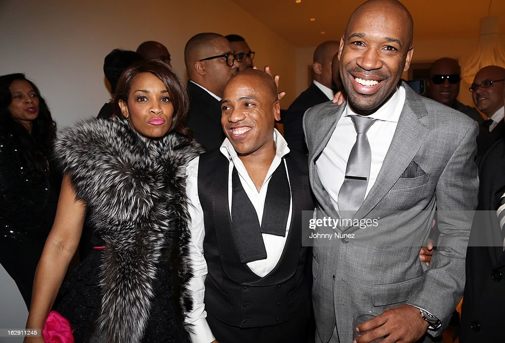 Tanasha Pettigrew, Kedar Massenburg, and J. Alexander Martin celebrate Kedar Massenburg's 50th birthday at Water Fall Mansion on February 28, 2013 in New York City.