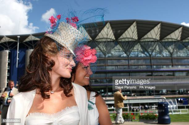 Tanaz Bizadji and Alexandra Russell show off their fashion choices at Ascot Racecourse Berkshire