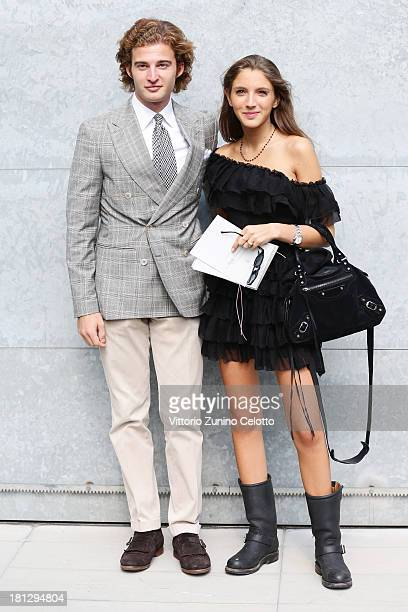 Tancredi Montezemolo and Clotilde Montezemolo attend the Emporio Armani show as a part of Milan Fashion Week Womenswear Spring/Summer 2014 on...