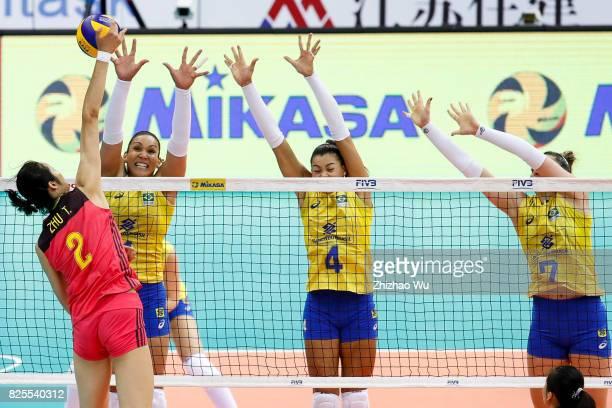Tandara Caixeta Ana Carolina Da Silva and Rosamaria Montibeller of Brazil block during 2017 Nanjing FIVB World Grand Prix Finals between China and...