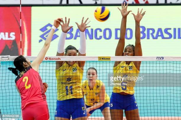 Tandara Caixeta and Adenizia Da Silva of Brazil blocks during 2017 Nanjing FIVB World Grand Prix Finals between China and Brazil on August 2 2017 at...