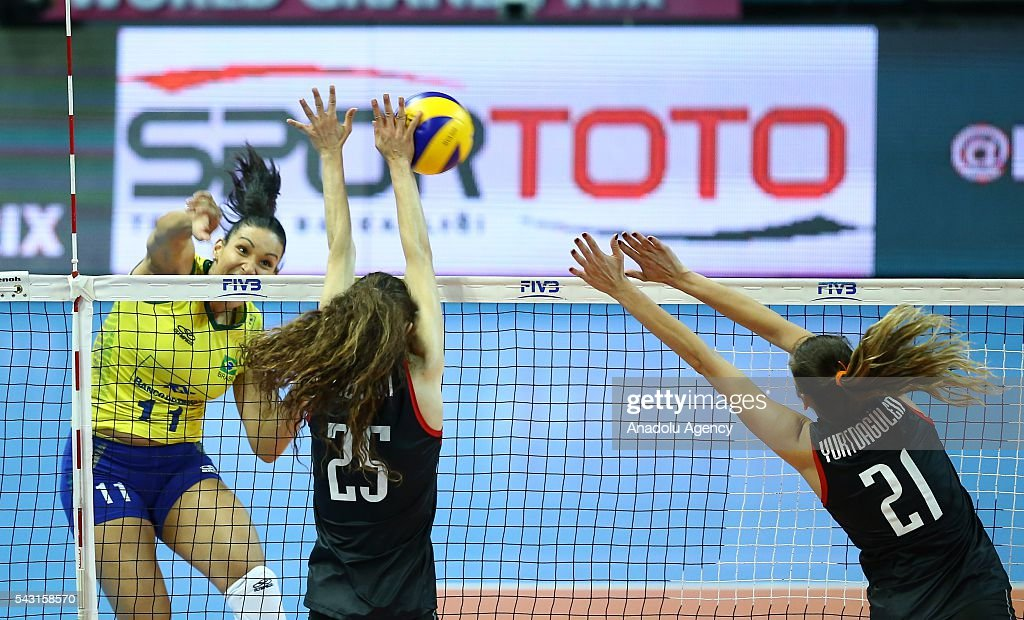 Tandara Caixeta (11) of Brazil in action during the 2016 FIVB Volleyball World Grand Prix Women's match between Turkey and Brazil at the TVF Baskent Sports Hall in Ankara, Turkey on June 26, 2016.