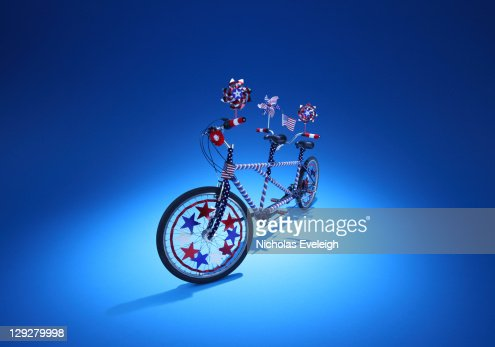 Tandem bicycle decorated. : Stock Photo