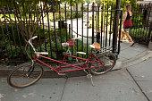 Tandem bicycle in Abingdon Square.