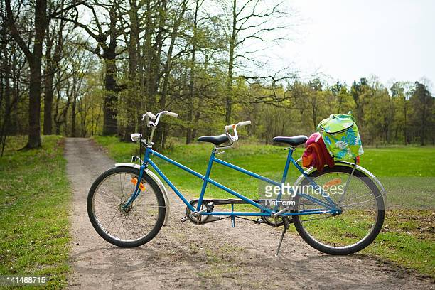 Tandem bike in forest