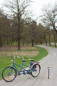 Tandem bike on path