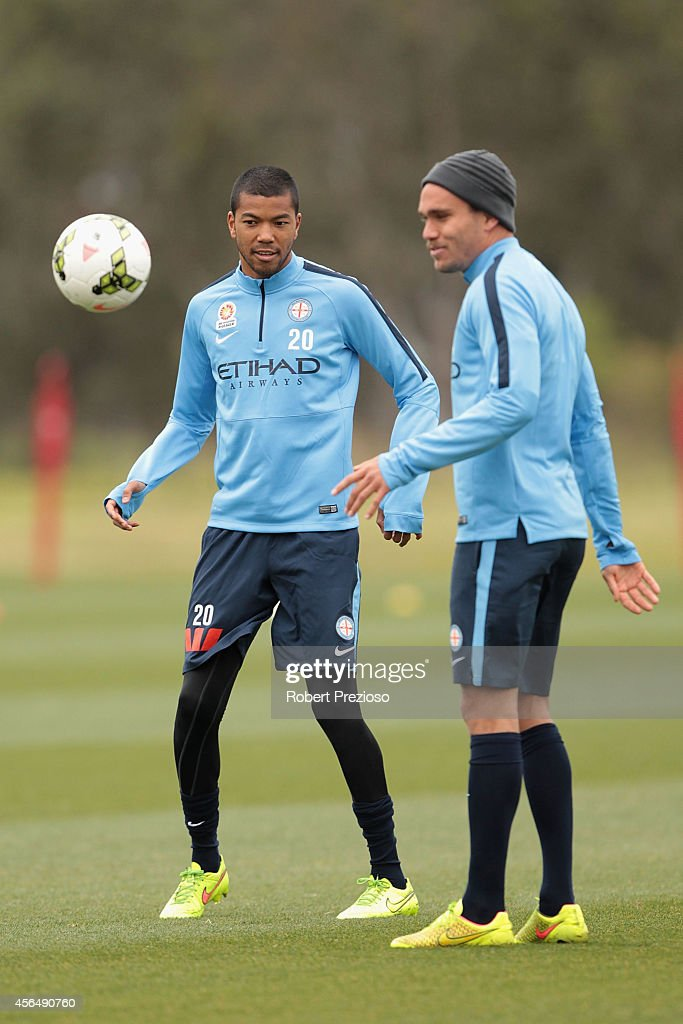 Tando Velaphi looks on during a Melbourne City ALeague training session at La Trobe University Sports Fields on October 2 2014 in Melbourne Australia