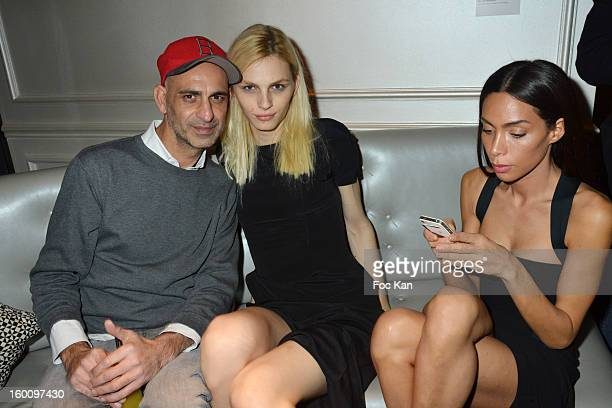 Tanel Andreas Pejic and Ines Rau attend the 'Body Double' Ali Mahdavi Exhibition Preview Cocktail At Hotel W on January 25 2013 in Paris France