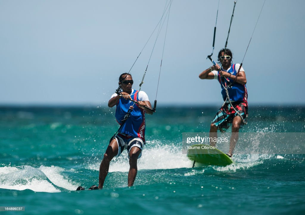 Taner Aykurt of Turkey (R) and Louie Fernando of Philippines (L) compete during day four of the KTA at Boracay Island on March 29, 2013 in Makati, Philippines.