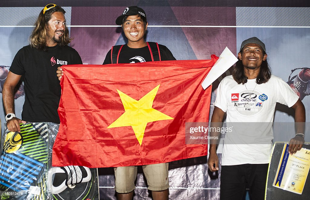 Taner Aykurt of Turkey, second classified, Long Nguyen Duc of Vietnam and Jong, third classfied of the men's freestyle competition on prize giving during day four of the 1st KTA Bintan at Argo Beach Resort on February 24, 2013 in Bintan Island, Indonesia.