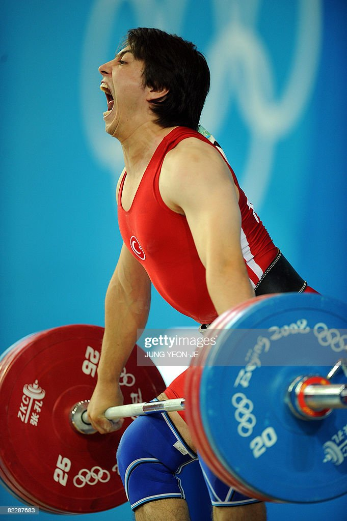 Taner Sagir of Turkey competes in the men's 77 kg weightlifting event during the 2008 Beijing Olympic Games at the Beijing University of Aeronautics and Astronautics Gymnasium on August 13, 2008.