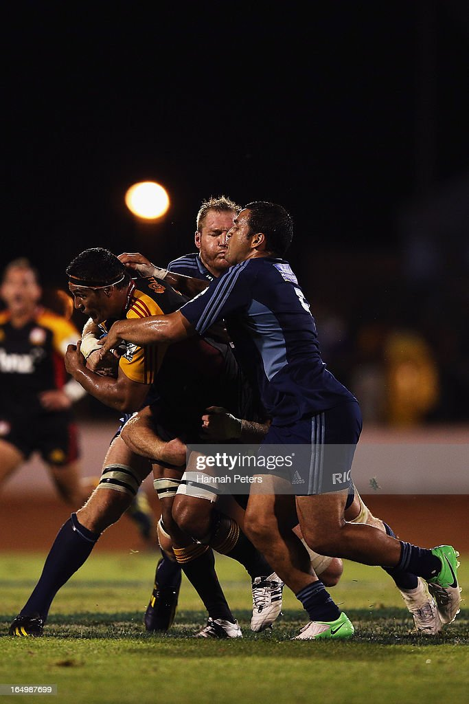 Tanerau Latimer of the Chiefs charges forward during the round seven Super Rugby match between the Chiefs and the Blues at Bay Park on March 30, 2013 in Tauranga, New Zealand.