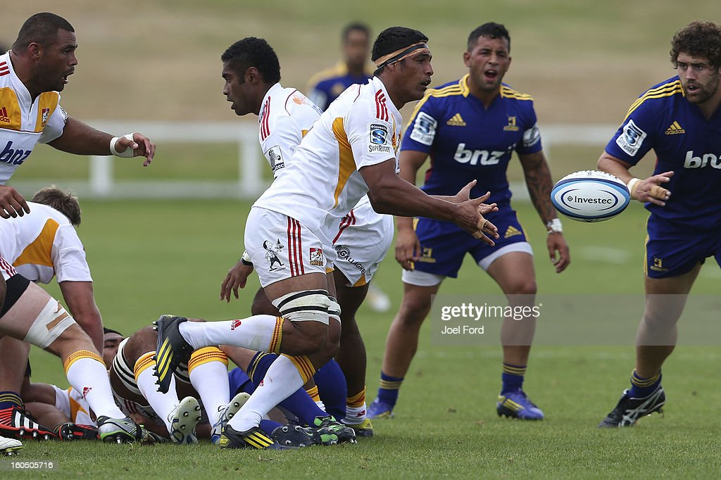 Tanerau Latimer of the Chiefs passes the ball during the 2013 Super Rugby pre-season friendly match between the Chiefs and the Highlanders at Owen Delany Park, Taupo on February 2, 2013 in Taupo, New Zealand.