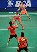Tang Jinhua and Tian Qing of China play a shot against Ma Jin and Tang Yuanting of China during the 2015 BCA Indonesia Open Semifinals match at...