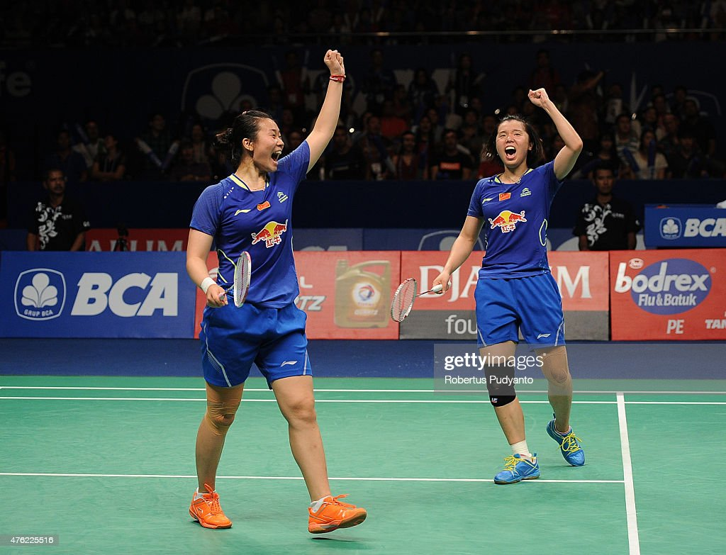 Tang Jinhua and <a gi-track='captionPersonalityLinkClicked' href=/galleries/search?phrase=Tian+Qing&family=editorial&specificpeople=2296575 ng-click='$event.stopPropagation()'>Tian Qing</a> of China react after winning Women's Double Final against Nitya Krishinda Maheswari and Greysia Polii of Indonesia in the 2015 BCA Indonesia Open at Istora Senayan on June 7, 2015 in Jakarta, Indonesia.