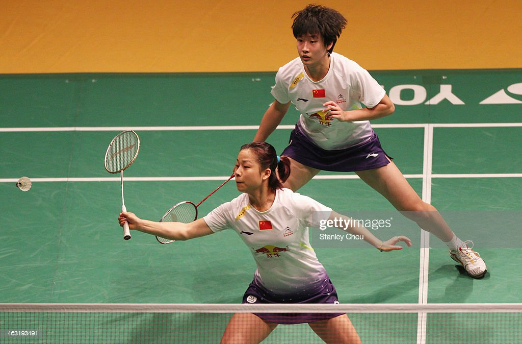 Tang Yuan Ting and Ma Jin of China in action during day four of the Woman's Doubles of the Malaysia Badminton Open on January 17 2014 in Kuala Lumpur...