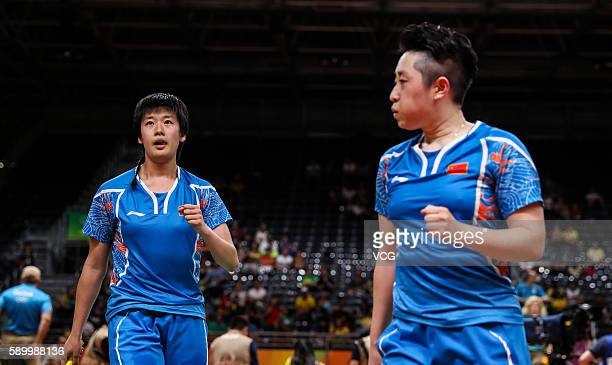 Tang Yuanting and Yu Yang of China compete during the Badminton Women's Doubles Quarterfinal match against Nitya Krishinda Maheswari and Greysia...