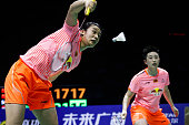 Tang Yuanting and Yu Yang of China return to Nitya Krishinda Maheswari and Greysia Polii of Indonesia during Women's Doubles match in the semifinals...