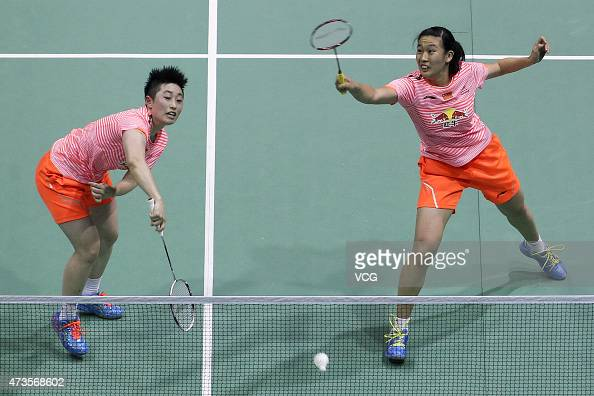 Tang Yuanting and Yu Yang of China return to Nitya Krishinda Maheswari and Greysia Polii of Indonesia during Women's Doubles match in the semifinals...