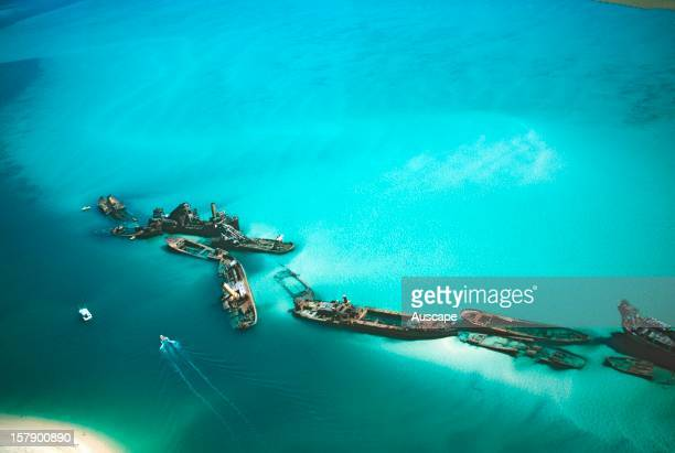 Tangalooma Wrecks fifteen vessels placed to create an artificial reef off the lee shore of the island attracting snorkellers and divers Moreton...